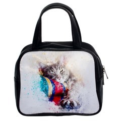 Cat Kitty Animal Art Abstract Classic Handbags (2 Sides)