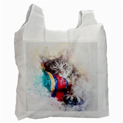 Cat Kitty Animal Art Abstract Recycle Bag (one Side) by Celenk