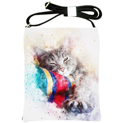 Cat Kitty Animal Art Abstract Shoulder Sling Bags by Celenk