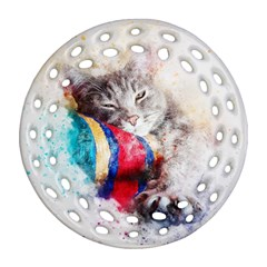 Cat Kitty Animal Art Abstract Ornament (round Filigree) by Celenk