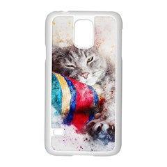 Cat Kitty Animal Art Abstract Samsung Galaxy S5 Case (white)
