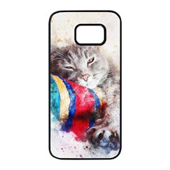 Cat Kitty Animal Art Abstract Samsung Galaxy S7 Edge Black Seamless Case by Celenk