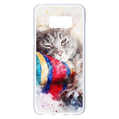 Cat Kitty Animal Art Abstract Samsung Galaxy S8 Plus White Seamless Case