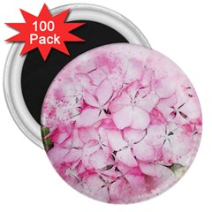 Flower Pink Art Abstract Nature 3  Magnets (100 Pack)