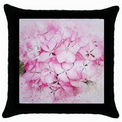 Flower Pink Art Abstract Nature Throw Pillow Case (black)