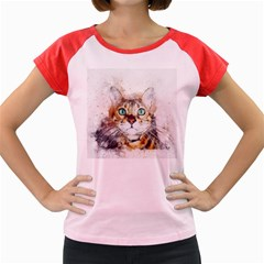 Cat Animal Art Abstract Watercolor Women s Cap Sleeve T Shirt by Celenk
