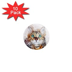 Cat Animal Art Abstract Watercolor 1  Mini Magnet (10 Pack)  by Celenk
