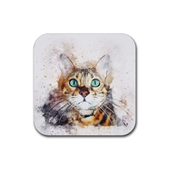 Cat Animal Art Abstract Watercolor Rubber Square Coaster (4 Pack)  by Celenk