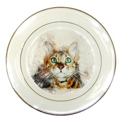 Cat Animal Art Abstract Watercolor Porcelain Plates