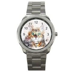 Cat Animal Art Abstract Watercolor Sport Metal Watch by Celenk