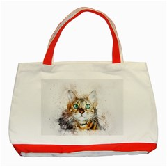 Cat Animal Art Abstract Watercolor Classic Tote Bag (red) by Celenk