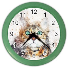 Cat Animal Art Abstract Watercolor Color Wall Clocks by Celenk