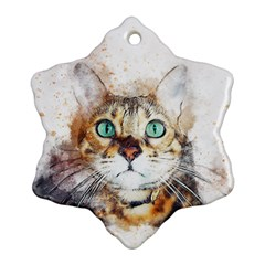 Cat Animal Art Abstract Watercolor Ornament (snowflake)
