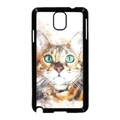 Cat Animal Art Abstract Watercolor Samsung Galaxy Note 3 Neo Hardshell Case (black)