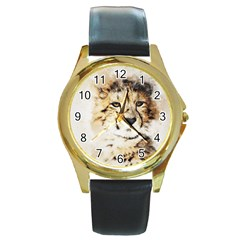 Leopard Animal Art Abstract Round Gold Metal Watch