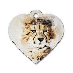 Leopard Animal Art Abstract Dog Tag Heart (one Side)