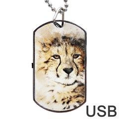 Leopard Animal Art Abstract Dog Tag Usb Flash (one Side) by Celenk