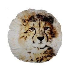 Leopard Animal Art Abstract Standard 15  Premium Round Cushions by Celenk