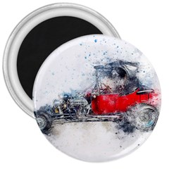 Car Old Car Art Abstract 3  Magnets by Celenk