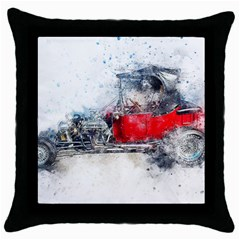 Car Old Car Art Abstract Throw Pillow Case (black) by Celenk