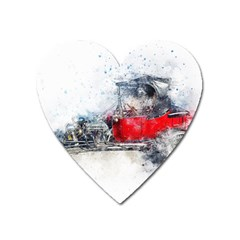 Car Old Car Art Abstract Heart Magnet