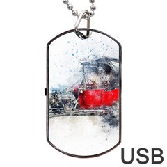 Car Old Car Art Abstract Dog Tag Usb Flash (one Side) by Celenk