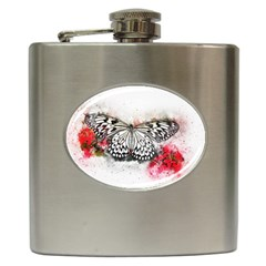 Butterfly Animal Insect Art Hip Flask (6 Oz) by Celenk