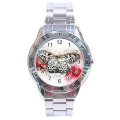 Butterfly Animal Insect Art Stainless Steel Analogue Watch by Celenk