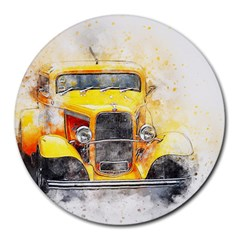Car Old Art Abstract Round Mousepads by Celenk