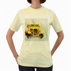 Car Old Art Abstract Women s Yellow T Shirt
