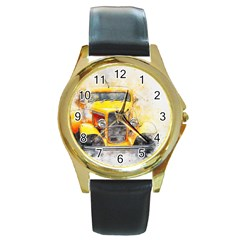 Car Old Art Abstract Round Gold Metal Watch