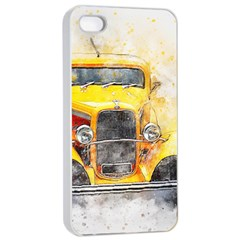 Car Old Art Abstract Apple Iphone 4/4s Seamless Case (white) by Celenk