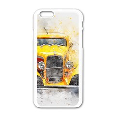 Car Old Art Abstract Apple Iphone 6/6s White Enamel Case by Celenk