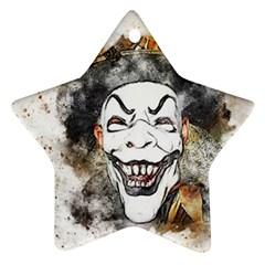 Mask Party Art Abstract Watercolor Ornament (star) by Celenk