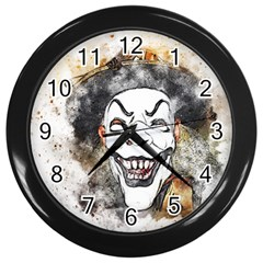 Mask Party Art Abstract Watercolor Wall Clocks (black) by Celenk