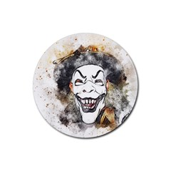 Mask Party Art Abstract Watercolor Rubber Round Coaster (4 Pack)  by Celenk