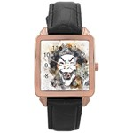 Mask Party Art Abstract Watercolor Rose Gold Leather Watch  Front