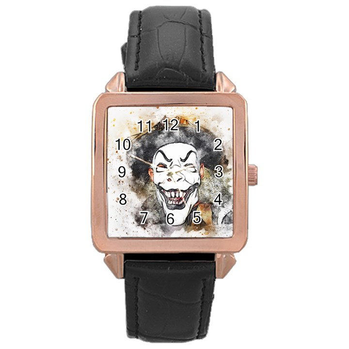 Mask Party Art Abstract Watercolor Rose Gold Leather Watch