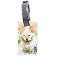Cat Animal Art Abstract Watercolor Luggage Tags (one Side)  by Celenk