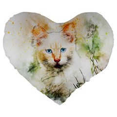 Cat Animal Art Abstract Watercolor Large 19  Premium Flano Heart Shape Cushions by Celenk