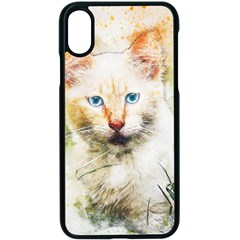 Cat Animal Art Abstract Watercolor Apple Iphone X Seamless Case (black)