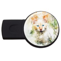 Cat Animal Art Abstract Watercolor Usb Flash Drive Round (2 Gb)