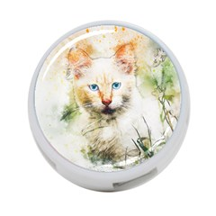 Cat Animal Art Abstract Watercolor 4 Port Usb Hub (two Sides)