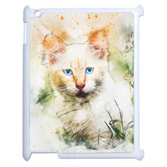 Cat Animal Art Abstract Watercolor Apple Ipad 2 Case (white) by Celenk