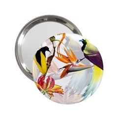 Exotic Birds Of Paradise And Flowers Watercolor 2 25  Handbag Mirrors by TKKdesignsCo