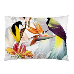 Exotic Birds Of Paradise And Flowers Watercolor Pillow Case by TKKdesignsCo