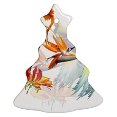 Exotic Birds Of Paradise And Flowers Watercolor Christmas Tree Ornament (two Sides) by TKKdesignsCo