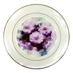 Flowers Purple Nature Art Abstract Porcelain Plates by Celenk
