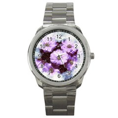Flowers Purple Nature Art Abstract Sport Metal Watch by Celenk
