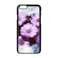 Flowers Purple Nature Art Abstract Apple Iphone 6/6s Black Enamel Case by Celenk